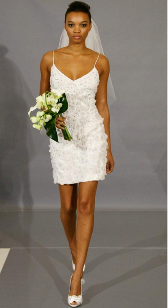 Modern Wedding Invitation: Chic White Short Wedding Dress ...