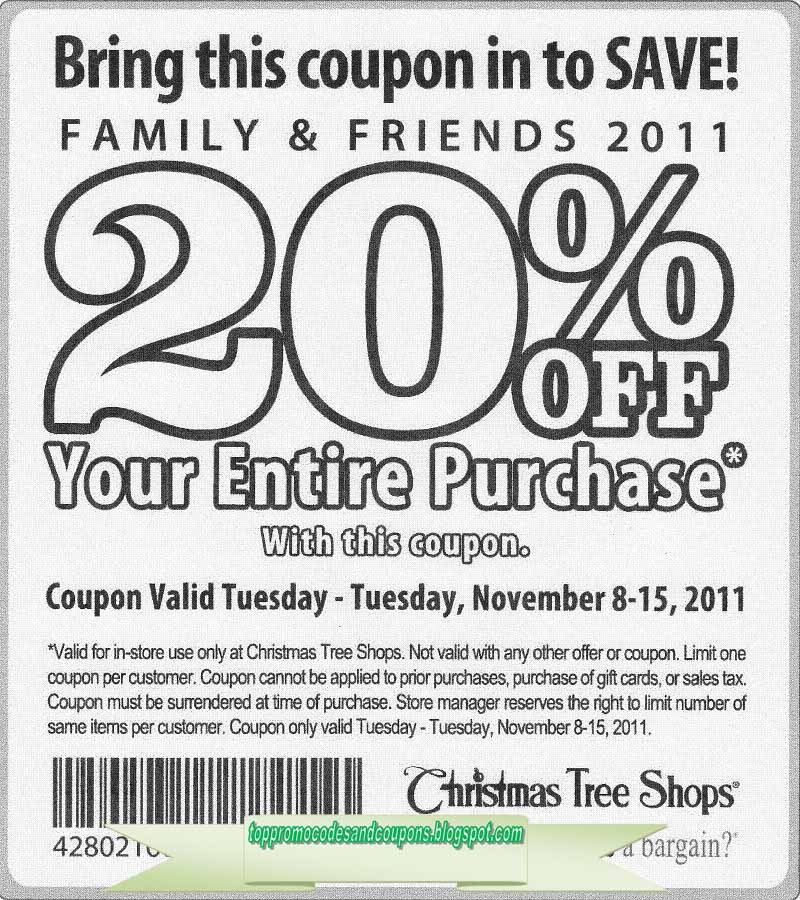 Free Promo Codes and Coupons 2019: Christmas Tree Shops ...