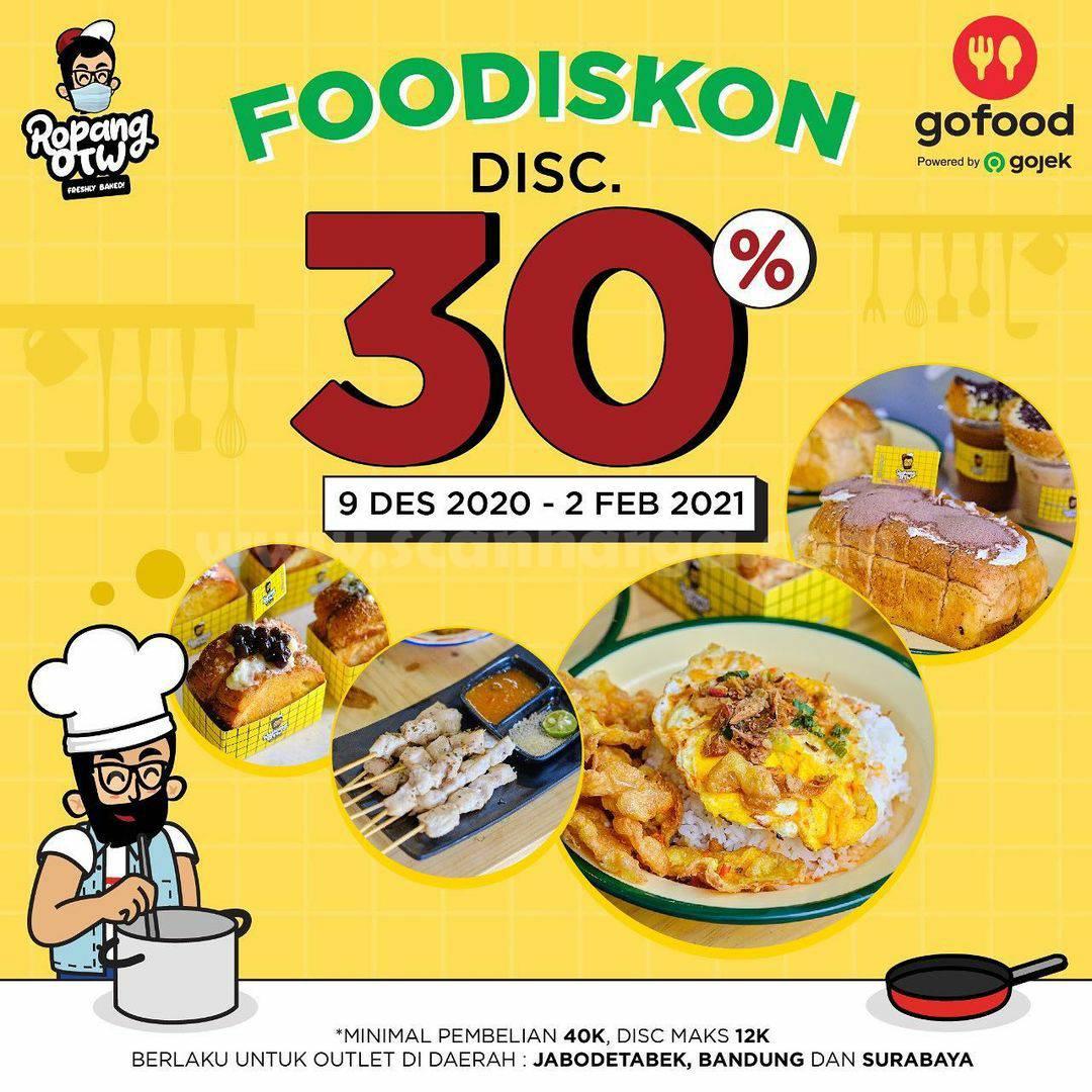 Promo Ropang OTW FOODISKON GOFOOD – Diskon 30% All Menu