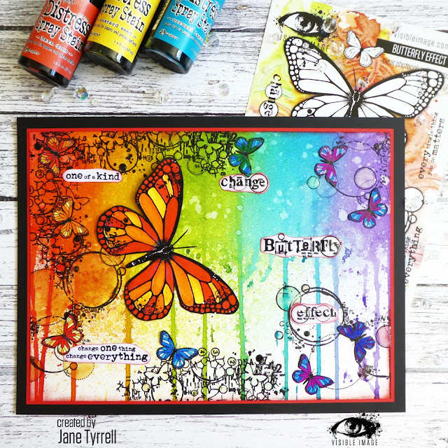 butterfly canvas | stamps | distress spray stains | ink drips | rainbow