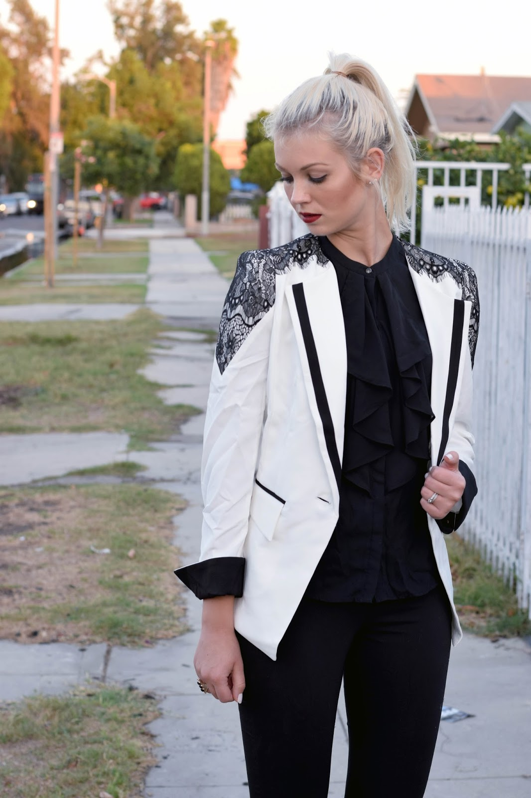 white blazer with lace applications