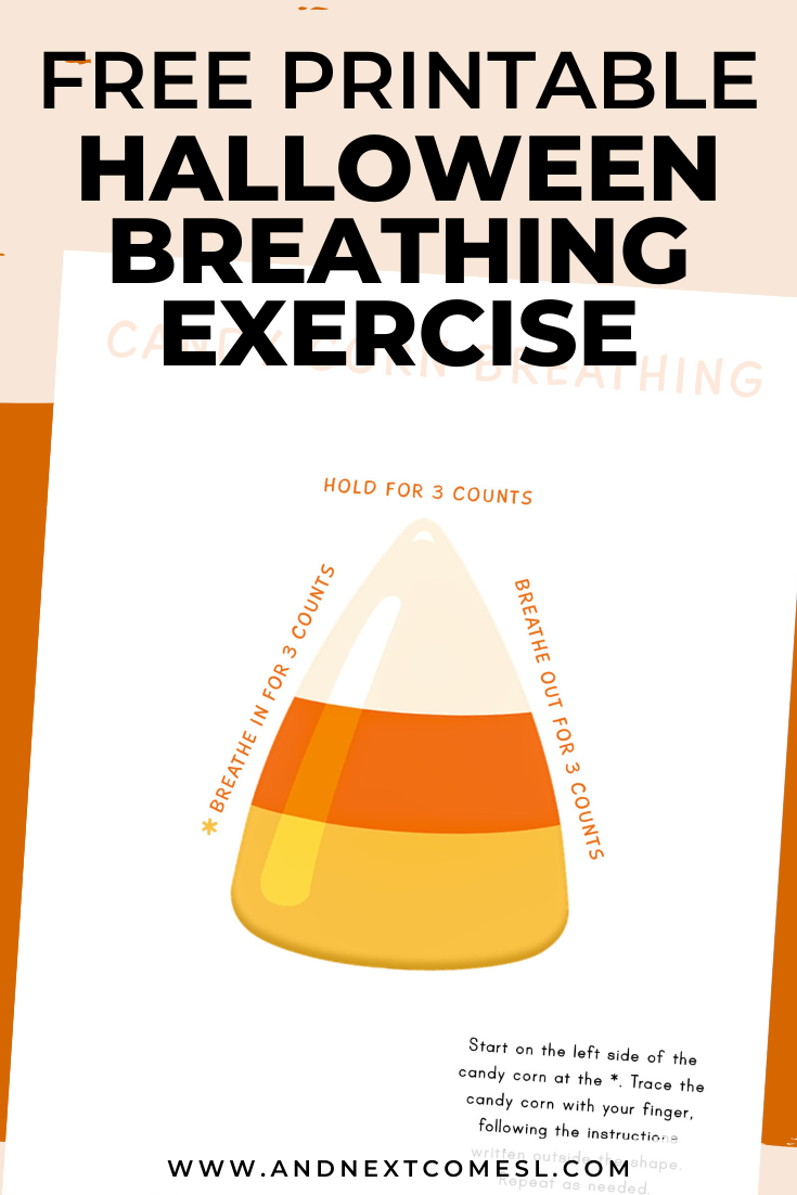 Halloween themed deep breathing exercise for kids with free printable mindfulness poster