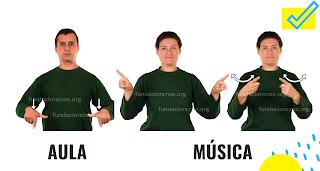 Imágenes de LSE para señalizar un aula de música.
