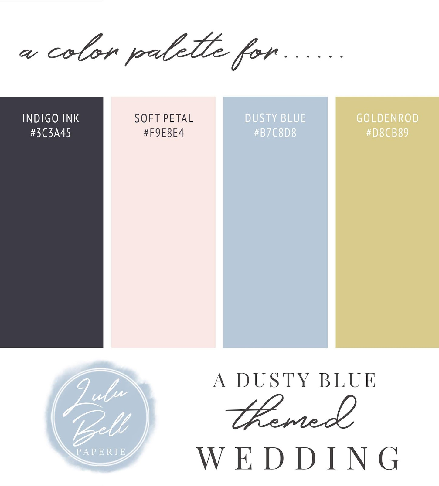 Dusty Blue, Gold, Pink, and Navy Wedding Color Palette Swatch Card : Indigo Ink, Soft Petal Pink, Dusty Blue, and Goldenrod