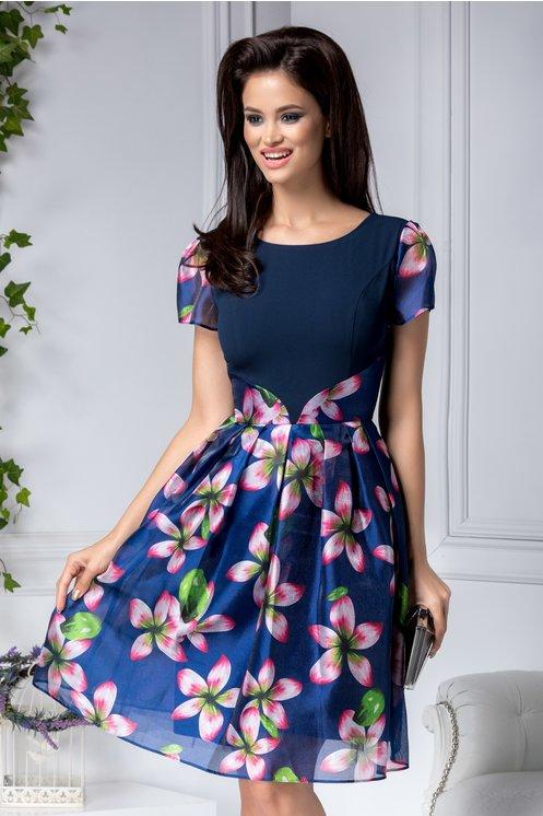 Rochie eleganta de ocazii bleumarin in clos cu flori roz