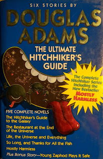 Book cover to The Hitchhiker's Guide to the Galaxy by Douglas Adams