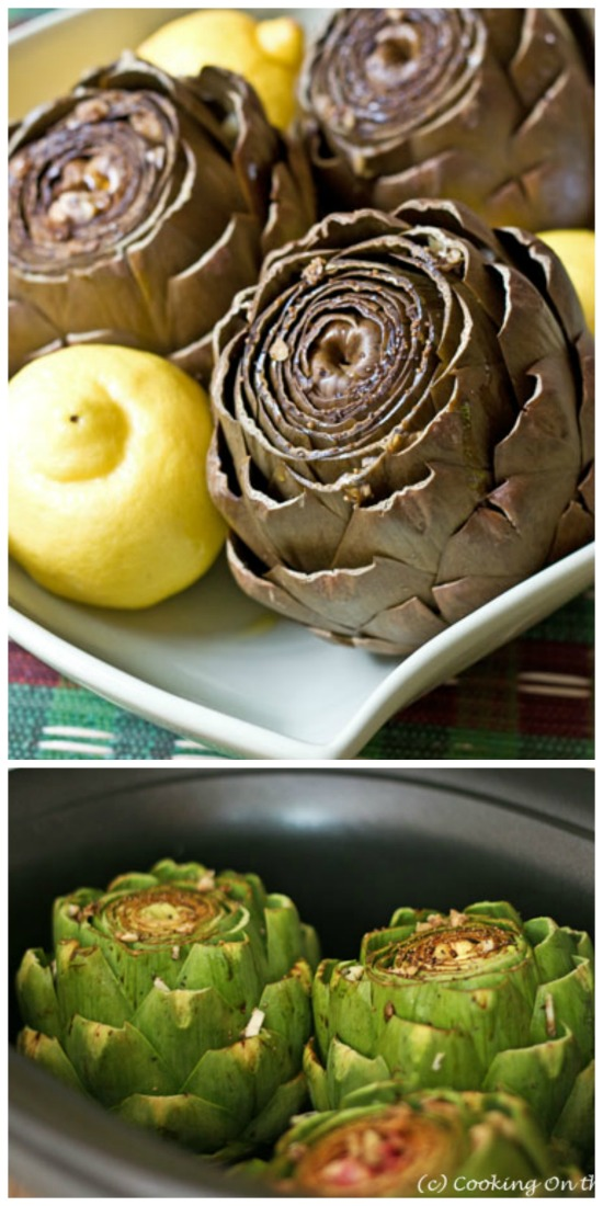 Slow Cooker Garlic Artichokes from Cooking on the Side found on SlowCookerFromScratch.com