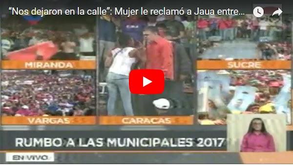 Mujer deja en ridículo a Elias Jaua sobre la tarima
