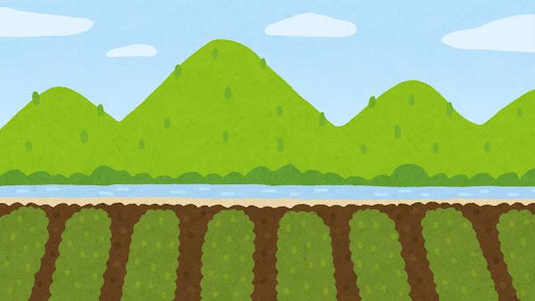 山と川と畑のイラスト(背景素材)