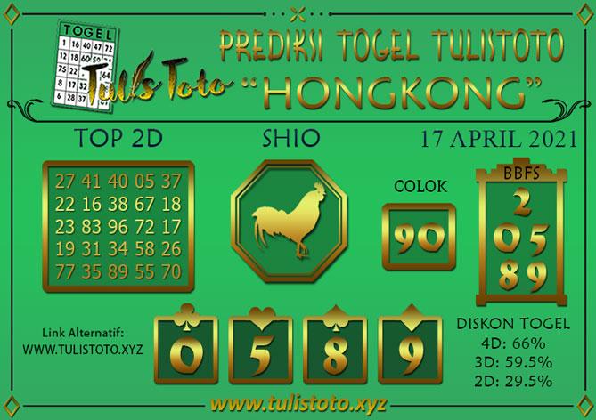 Prediksi Togel HONGKONG TULISTOTO 17 APRIL 2021