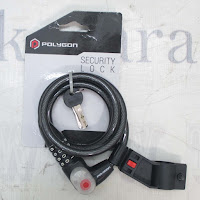 Polygon 6001 Key, Number & Light Kunci Lock Spiral with Pengaman Sepeda