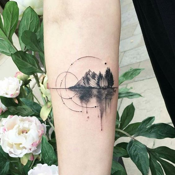 Beautiful Mountain Tattoos on Arm
