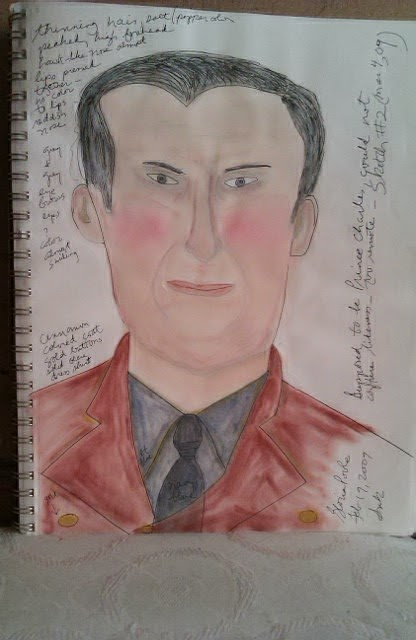 Sketch of Prince Charles by Gloria Poole; one of several of him