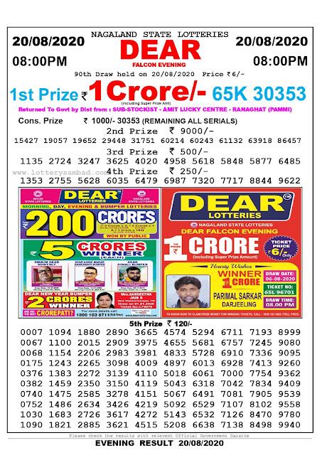 Lottery Sambad Result 20.08.2020 Dear Falcon Evening 8:00 pm