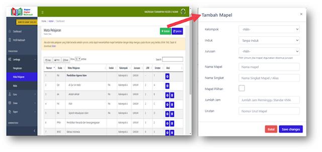 Profile Dasbord menu mapel RDM