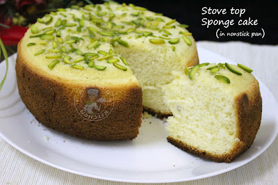 easy stove top sponge cake with 3 ingredients no baking soda and powder cake