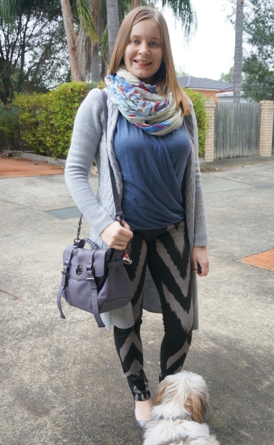 layered winter breastfeeding outfit: wrap top, printed jeans, wool cardi and scarf | AwayFromBlue