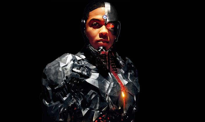 Imagem de capa: fundo preto com uma imagem do personagem Ciborgue, interpretado pelo ator Ray Fisher, um humano com uma grande parte do seu corpo composta de partes robóticas, metálicas com uma luz vermelha e brilhante em seu olho esquerdo.