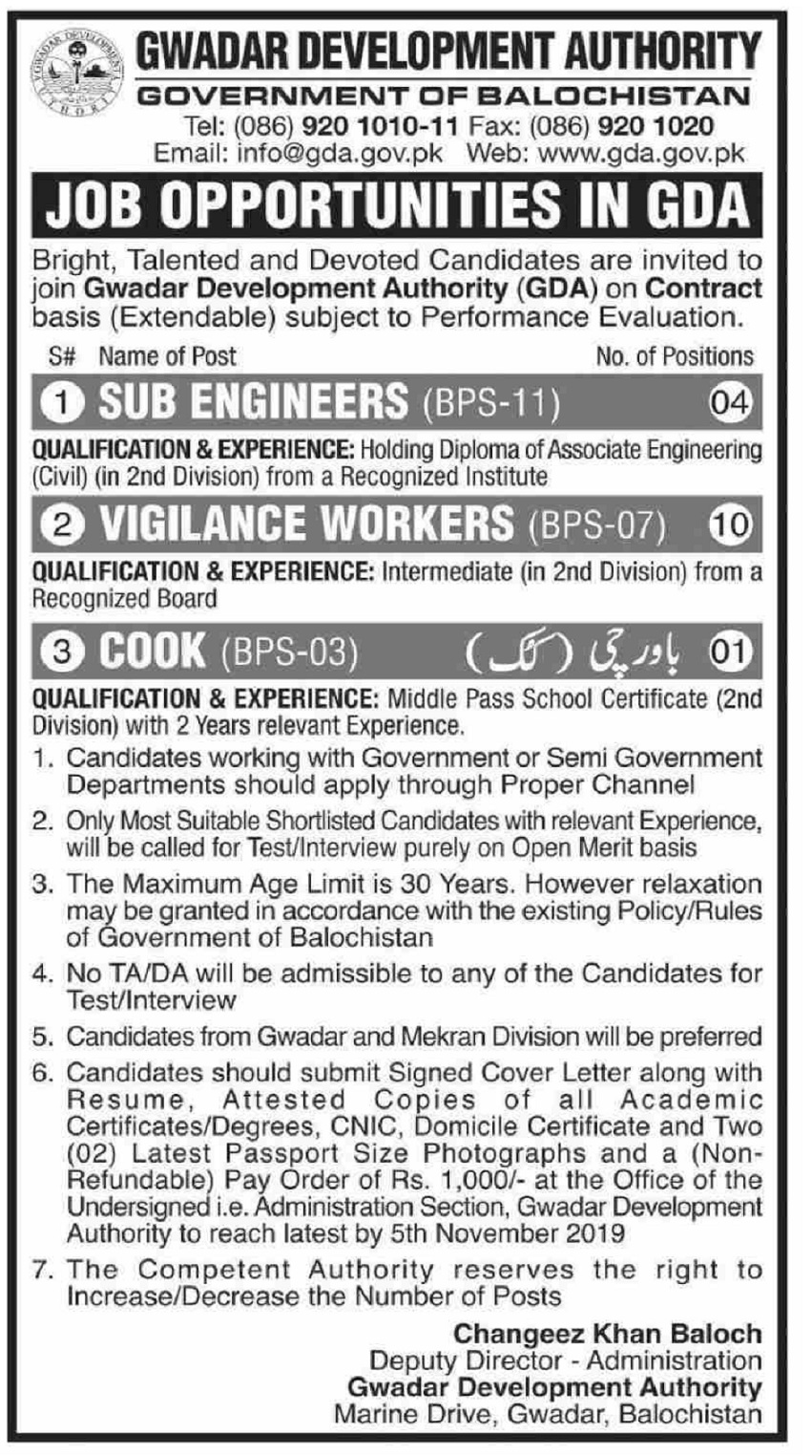 Gwadar Development Authority GDA Jobs 2019