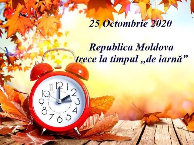 """La data de 25 octombrie 2020, Republica Moldova va trece la timpul ,,de iarnă"""""""