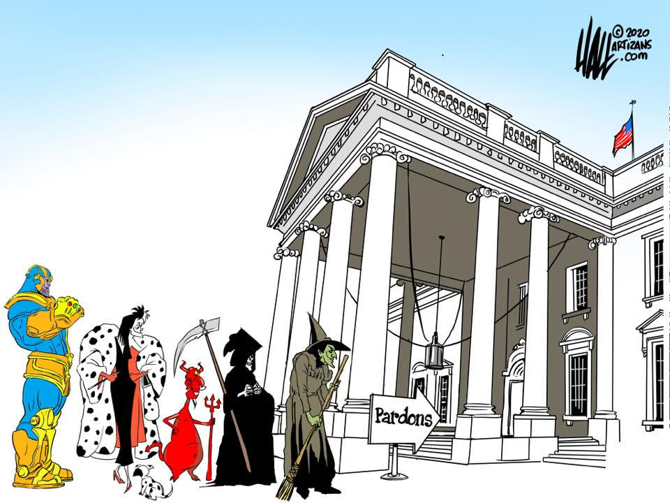 The Wicked Witch of the West, Bane, Cruella DeVille, Satan, etc., lined up at the White House to receive pardons.