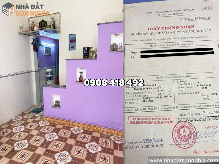 Bán nhà Gò Vấp đường Lê Văn Thọ phường 16 MS080