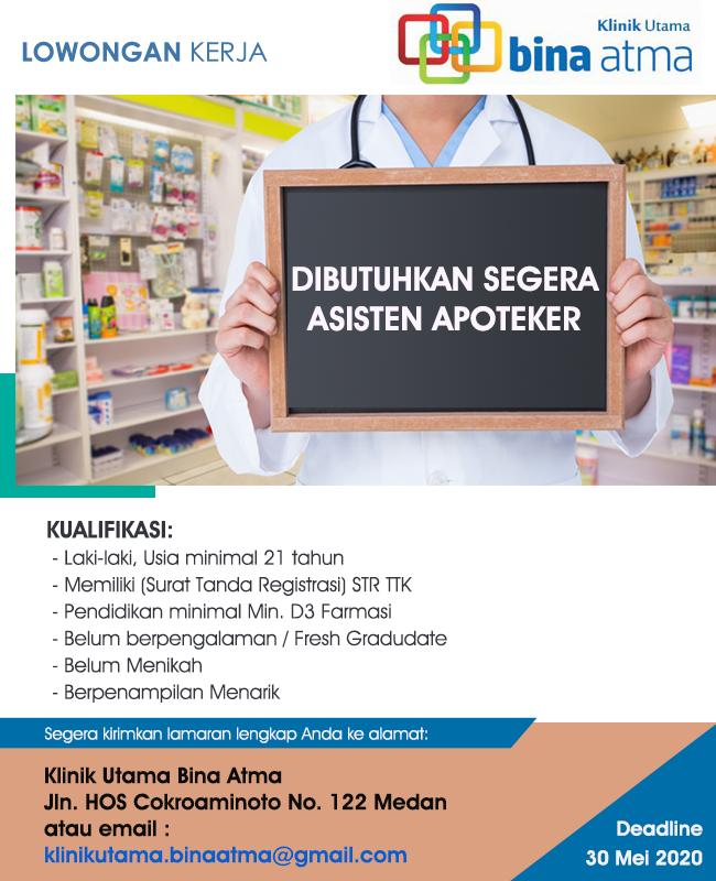 Lowongan Kerja Medan Terbaru Apoteker Klinik Utama Bina Atma Medan Medanloker Com Lowongan Kerja Medan