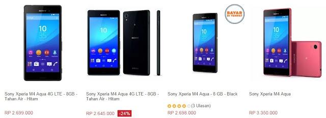 Harga HP Sony Xperia M4 Aqua Tahun 2017 Lengkap Dengan Spesifikasi, Layar 5 inchi, 4G LTE, RAM 2GB, Kamera 13 MP