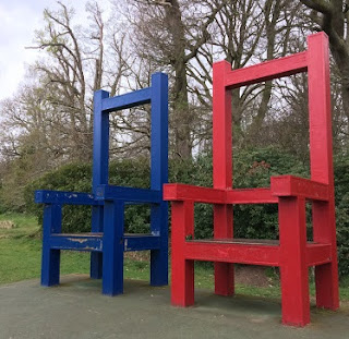 Abstract Large Chair Sculptures In Vogrie Country Park