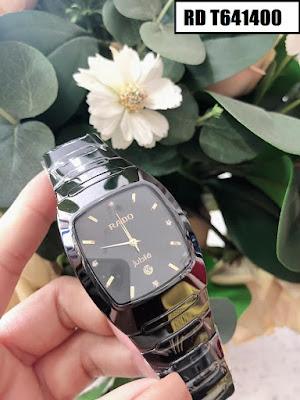 Đồng hồ nam mặt chữ nhật dây đá ceramic đen RD T641400