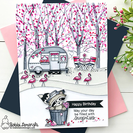 Happy Birthday by Bobbi features Raccoon Rascals, Cozy Campers, and Land Borders by Newton's Nook Designs; #newtonsnook