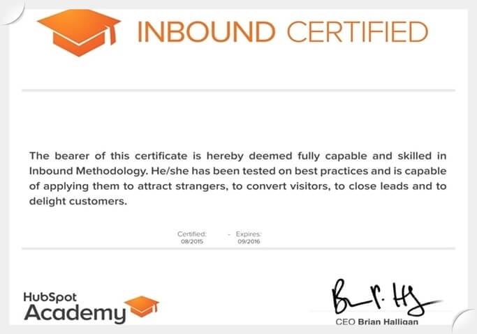 شهادة HubSpot Inbound Marketing