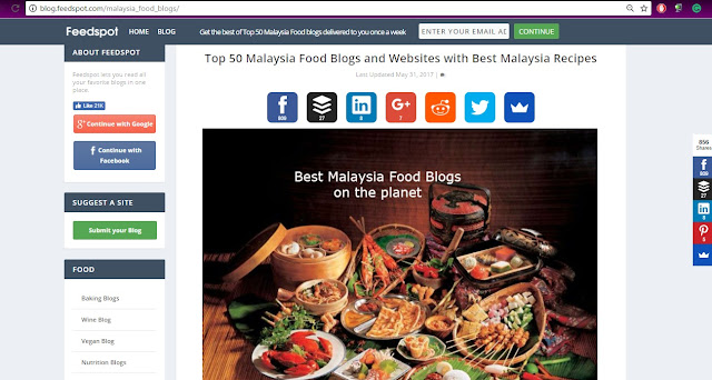 """FOLLOWMETOEATLA Food Blog Awarded """"The TOP 50 MALAYSIA FOOD BLOG AWARD"""""""