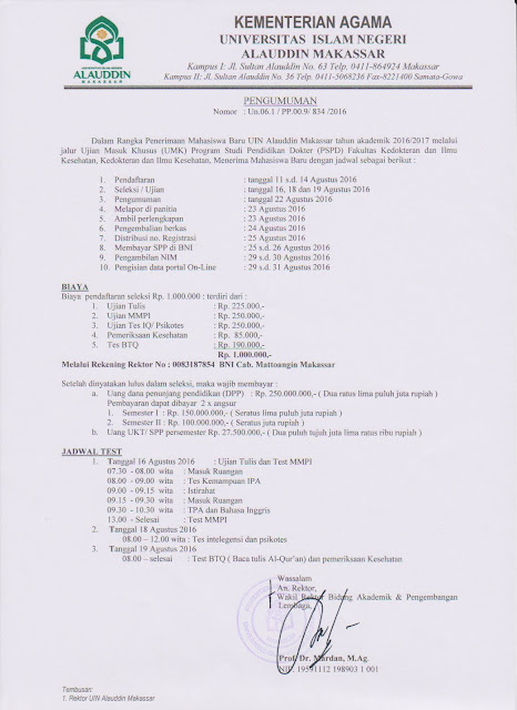 Jalur masuk pendaftaran maba jurusan kedokteran UIN alauddin Makassar