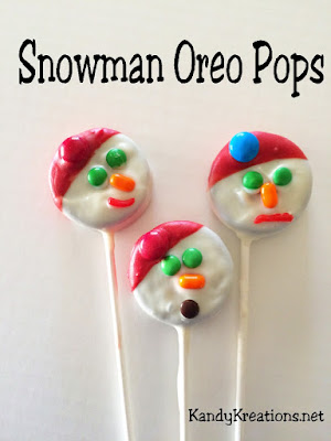 Enjoy a yummy treat on a cold winter's day with these sweet Snowman Oreo Pops. Covered in chocolate and candy, these double stuffed Oreos will be a great way to build a snowman when you want to stay indoors where it's warm.