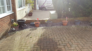 The front garden - plenty of plant pots to keep the colour