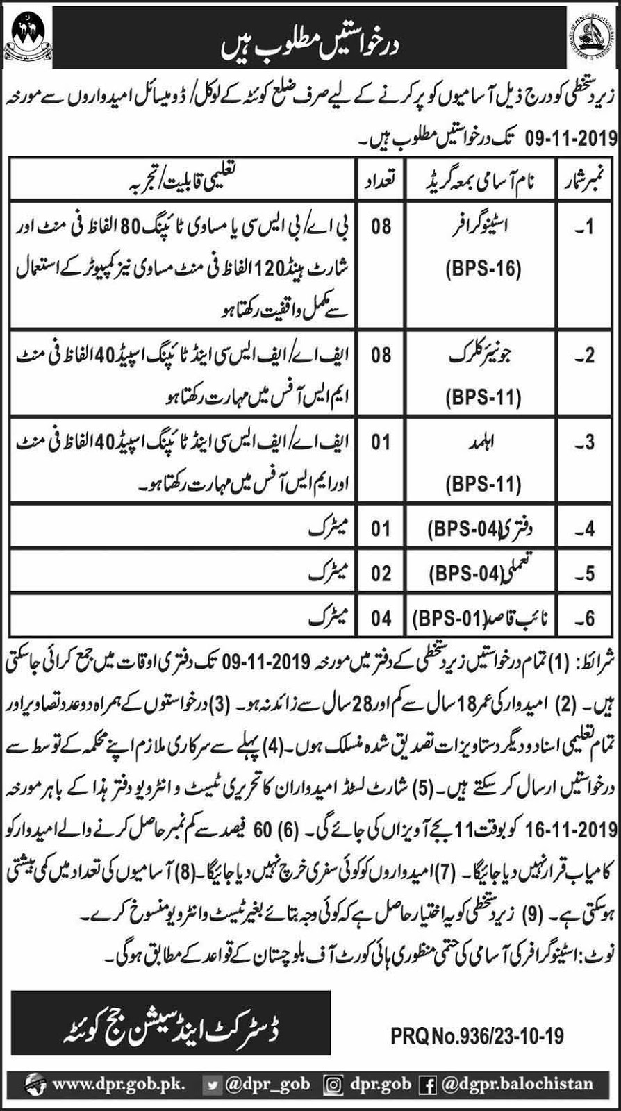 Jobs in District & Session Court Quetta Oct 2019