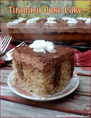Tiramisu Poke Cake, a fun interpretation of a classic Italian dessert. | Recipe developed by www.BakingInATornado.com | #recipe #dessert