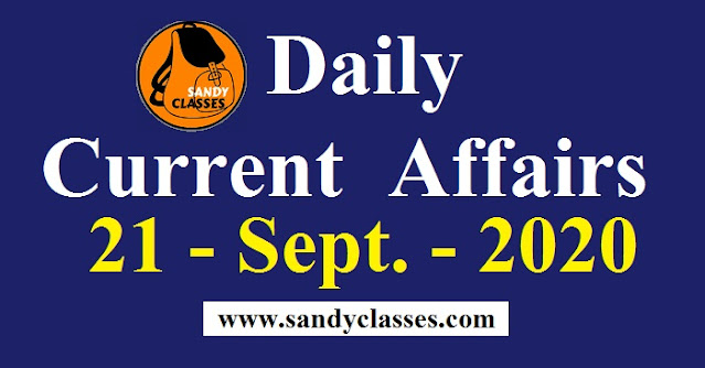 Daily Current Affairs in Hindi / English - 21 September 2020