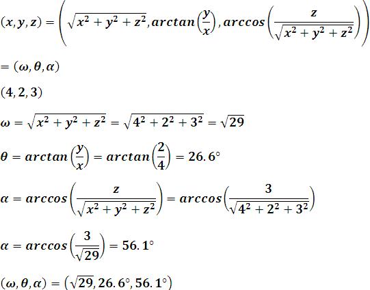 punto en coordenadas esféricas equivalente a su igual en coordenadas esféricas