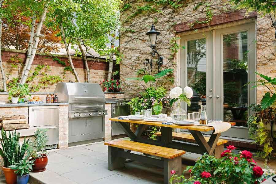 ide dekorasi dapur terbuka dengan tanaman hias