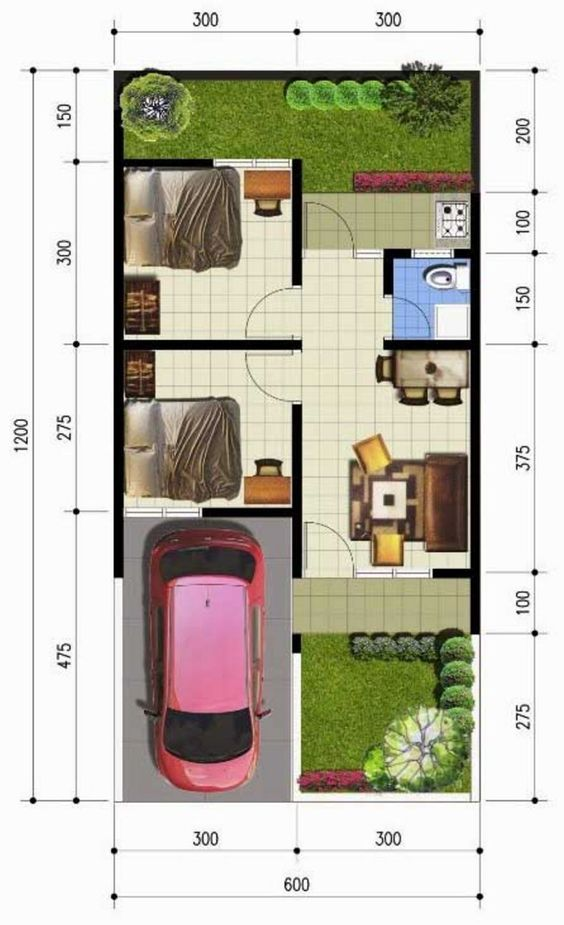 Desain Rumah Minimalis Lebar 5 Meter  koleksi denah rumah minimalis ukuran 6x12 meter