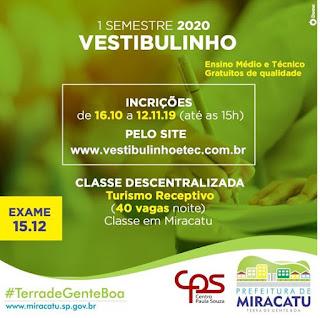 Vestibulinho da ETEC abre vagas de Turismo para Miracatu