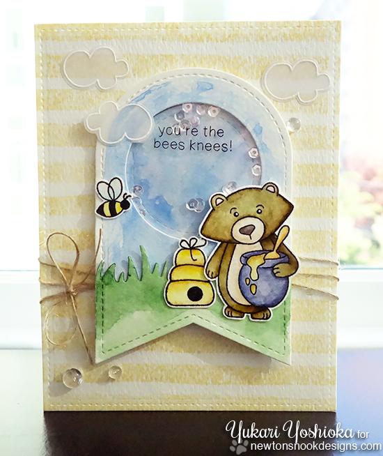 Bees Knees Honey card by Yukari Yoshioka | Winston's Honeybees stamp set by Newton's Nook Designs #newtonsnook