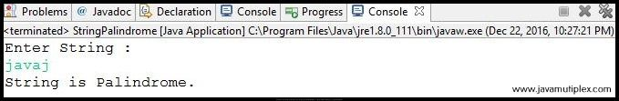Output of Java program that checks whether given string is Palindrome or not - Case2