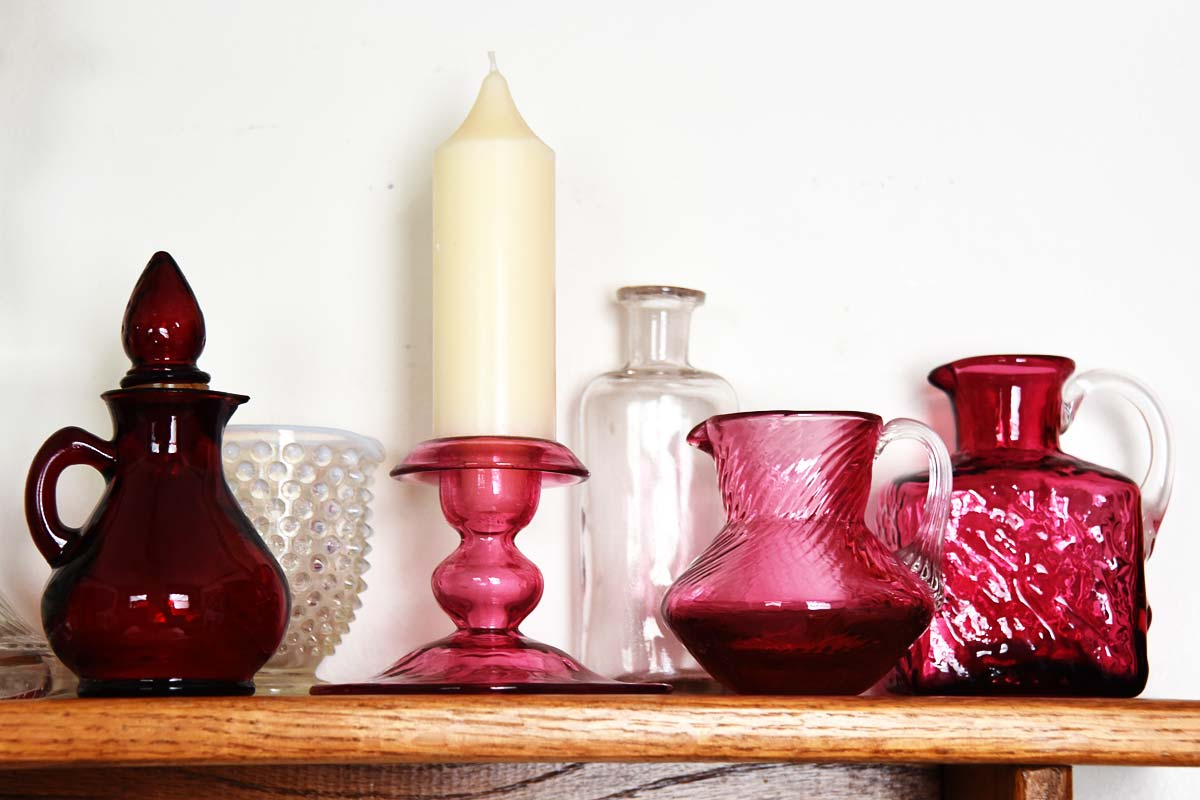 Vintage Cranberry Valentine Glass