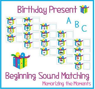 Free Printable Birthday Beginning Sound Match great for Prek and Kindergarten