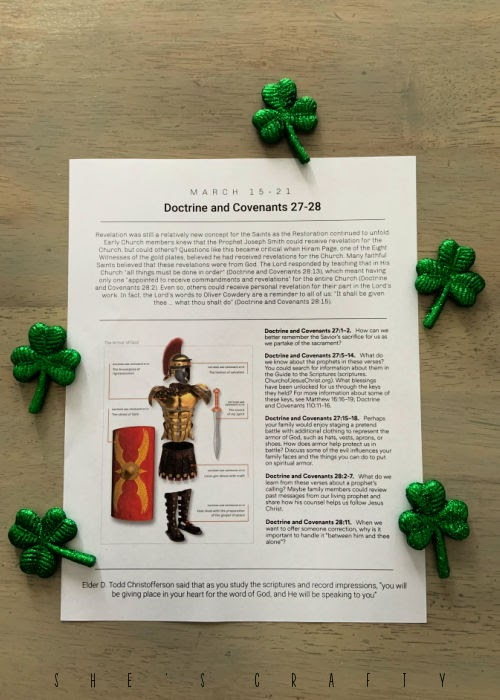 Come Follow me Printable to study at home during St Patrick's Day Week.