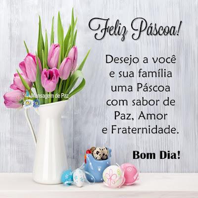 Desejo a você e sua família   uma Páscoa com sabor de   Paz, Amor e Fraternidade.  Feliz Páscoa!