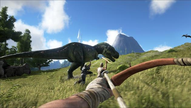 A caçada de um T-rex.